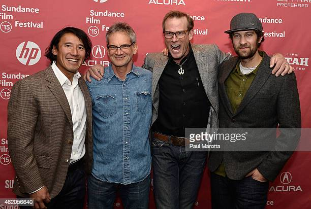 Director Jimmy Chin author Jon Krakauer and climbers Conrad Anker and Renan Ozturk attend Meru premiere during the 2015 Sundance Film Festival during...