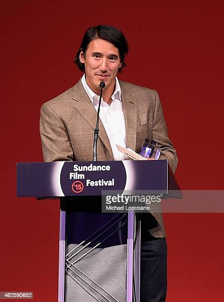 Director Jimmy Chin of 'Meru' accepts the U.S. Documentary Audience Award onstage at the Awards Night Ceremony during the 2015 Sundance Film Festival...