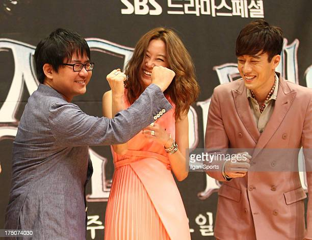 Director Jin Hyuk Kong HyoJin and So JiSub attend the SBS Drama 'The Master's Sun' press conference at SBS Building on July 26 2013 in Seoul South...
