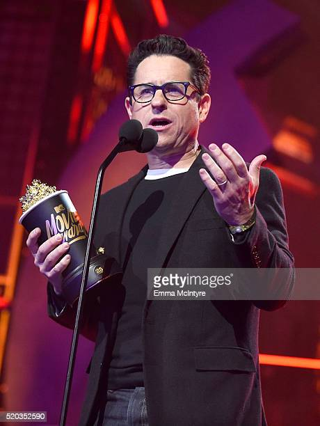 Director JJ Abrams accepts the Movie of the Year award for 'Star Wars The Force Awakens' onstage during the 2016 MTV Movie Awards at Warner Bros...