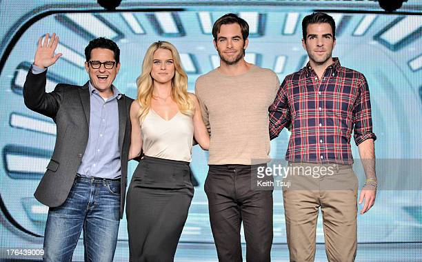 Director JJ Abrams actress Alice Eve actors Chris Pine and Zachary Quinto attend the 'Star Trek Into Darkness' Live Streaming in Tokyo at the...