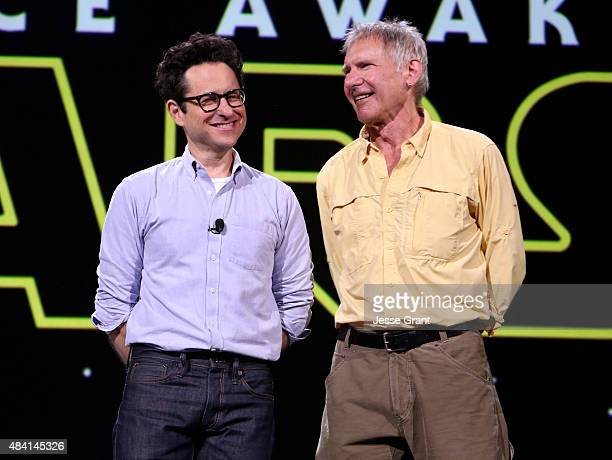 Director JJ Abrams and actor Harrison Ford of STAR WARS THE FORCE AWAKENS took part today in Worlds Galaxies and Universes Live Action at The Walt...