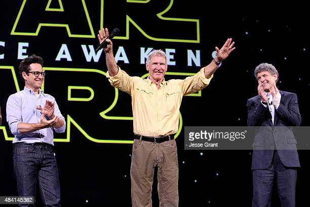 Director JJ Abrams and actor Harrison Ford of STAR WARS THE FORCE AWAKENS and Chairman of the Walt Disney Studios Alan Horn took part today in Worlds...