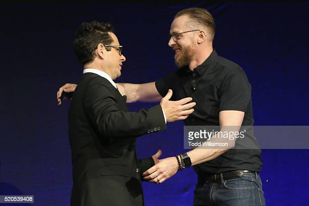 Director J.J. Abrams and actor Simon Pegg speak onstage during the CinemaCon 2016 Gala Opening Night Event: Paramount Pictures Highlights its 2016...