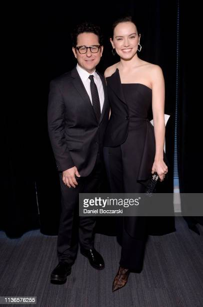 Director JJ Abrams and Daisy Ridley attend The Rise of Skywalker panel at the Star Wars Celebration at McCormick Place Convention Center on April 12...