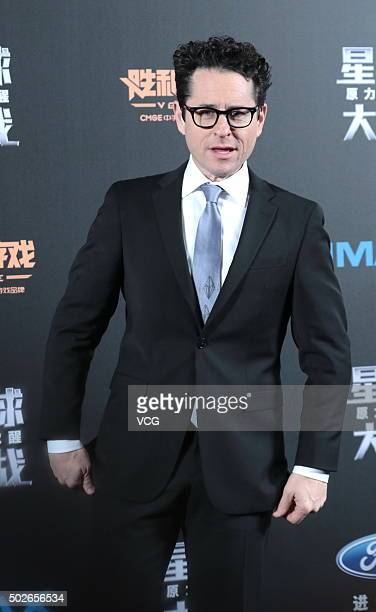 Director JJ Abrams attends Star Wars The Force Awakens premiere at Shanghai Grand Theatre on December 27 2015 in Shanghai China