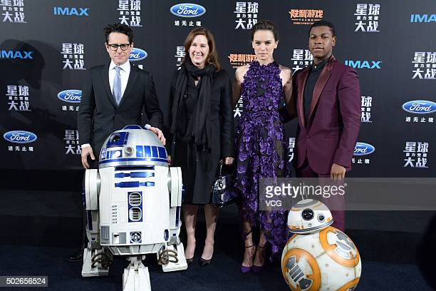 Director JJ Abrams producer Kathleen Kennedy actress Daisy Ridley and actor John Boyega attend 'Star Wars The Force Awakens' premiere at Shanghai...
