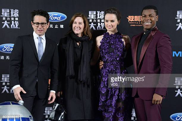 Director JJ Abrams producer Kathleen Kennedy actress Daisy Ridley and actor John Boyega attend Star Wars The Force Awakens premiere at Shanghai Grand...