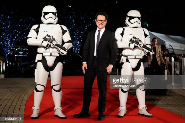 Director JJ Abrams with Stormtroopers attends the special fan event for 'Star Wars The Rise of Skywalker' at Roppongi Hills on December 11 2019 in...
