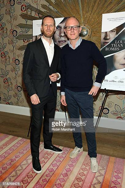 Director Joachim Trier and Editor in Chief of The Paris Review Lorin Stein attend the 'Louder Than Bombs' New York Premiere at Crosby Street Hotel on...