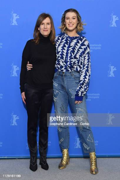 """Director Joanna Hogg and actress Honor Swinton-Byrne pose at the """"The Souvenir"""" photocall during the 69th Berlinale International Film Festival..."""