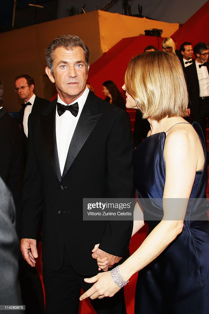 Director Jodie Foster and actor Mel Gibson depart 'The Beaver' premiere at the Palais des Festivals during the 64th Cannes Film Festival on May 17, 2011 in Cannes, France.