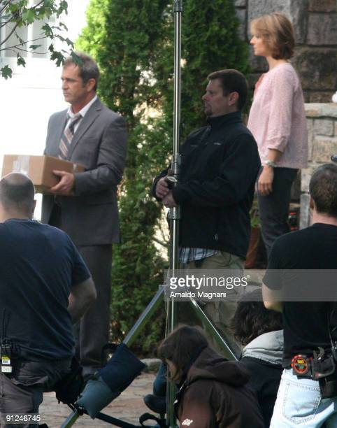 Director Jodie Foster and actor Mel Gibson work on the set of 'The Beaver' on September 29 2009 in Mamaroneck New York