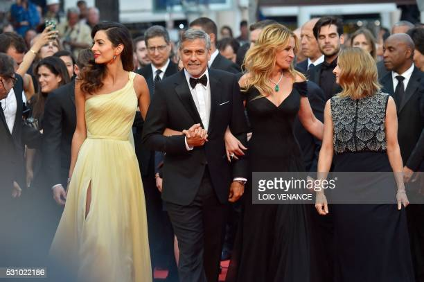 TOPSHOT US director Jodie Foster arrives on May 12 2016 with US actor George Clooney and his wife BritishLebanese lawyer Amal Clooney and US actress...