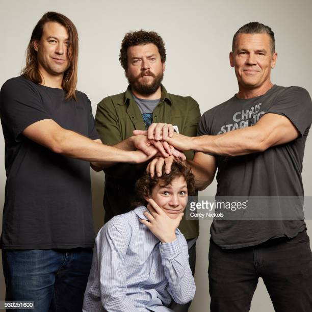 Director Jody Hill Actors Montana Jordan Danny McBride and Josh Brolin from the film 'The Legacy of a Whitetail Deer Hunter' poses for a portrait in...