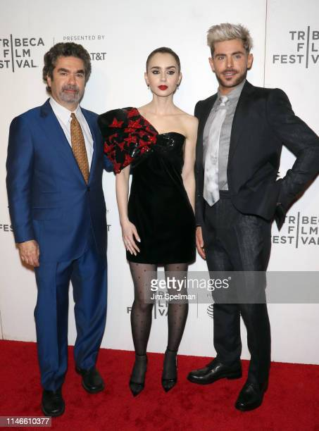"""Director Joe Berlinger, actors Lily Collins and Zac Efron attend the screening of """"Extremely Wicked, Shockingly Evil and Vile"""" during the 2019..."""