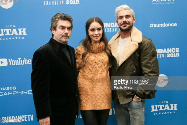 Director Joe Berlinger and actors Lily Collins and Zac Efron attend the Extremely Wicked Shockingly Evil and Vile premiere at Eccles Theater during...