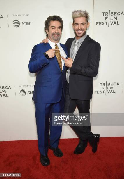 """Director Joe Berlinger and Zac Efron attend """"Extremely Wicked, Shockingly Evil And Vile"""" - 2019 Tribeca Film Festival at BMCC Tribeca PAC on May 02,..."""