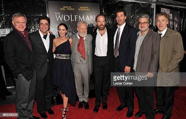 Director Joe Johnston actors Benicio Del Toro Emily Blunt Sir Anthony Hopkins Hugo Weaving producers Scott Stuber Sean Daniel and Rick Yorn arrive at...