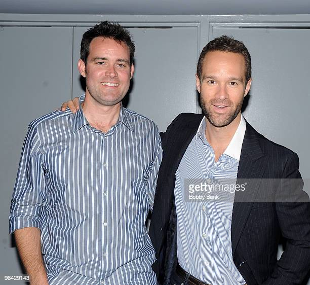 Director Joe Otting and actor Chris Diamontopolis attend a screening of Under New Management at the Directors Guild Theatre on August 13 2009 in New...