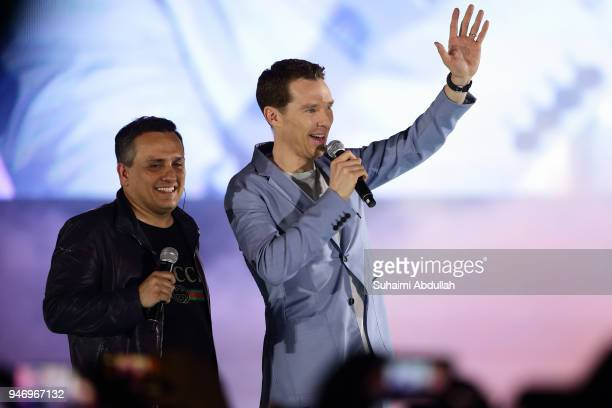 Director Joe Russo and Benedict Cumberbatch attend the Marvel Studios Avengers Infinity War Red Carpet Fan Event at Marina Bay Sands Event Plaza on...