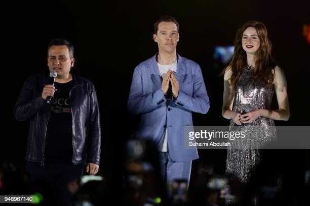 Director Joe Russo Benedict Cumberbatch and Karen Gillan attend the Marvel Studios Avengers Infinity War Red Carpet Fan Event at Marina Bay Sands...