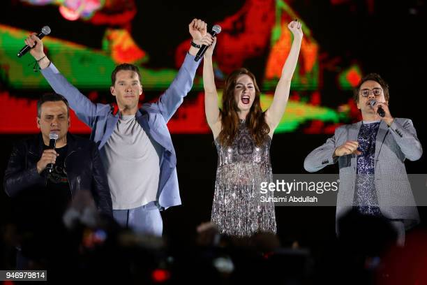 Director Joe Russo Benedict Cumberbatch Karen Gillan and Robert Downey Jr attend the Marvel Studios Avengers Infinity War Red Carpet Fan Event at...