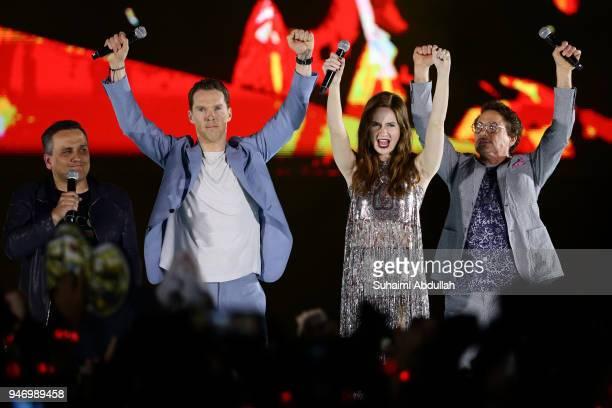 Director Joe Russo Benedict Cumberbatch Karen Gillan and Robert Downey Jr attend the Marvel Studios Avengers Infinity War Red Carpet Fan Event at...