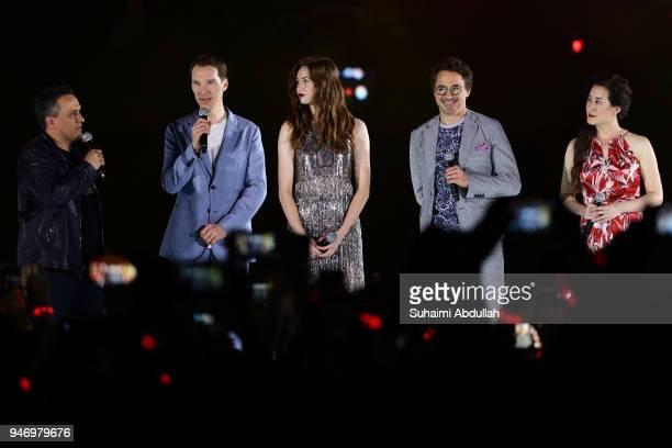 Director Joe Russo Benedict Cumberbatch Karen Gillan Robert Downey Jr and executive producer Trinh Tran attend the Marvel Studios Avengers Infinity...