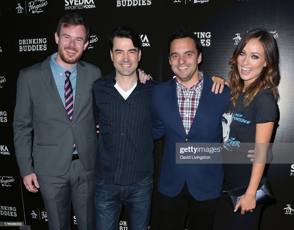 Director Joe Swanberg and actors Ron Livingston, Jake Johnson and Olivia Wilde attend a screening of Magnolia Pictures' 'Drinking Buddies' at ArcLight Cinemas on August 15, 2013 in Hollywood, California.