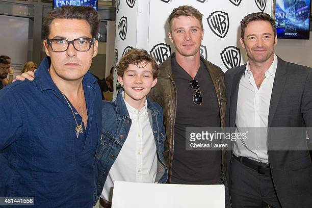 Director Joe Wright actors Levi Miller Garrett Hedlund and Hugh Jackman attend a signing for 'Pan' at ComicCon International on July 11 2015 in San...