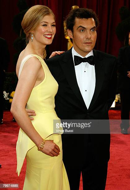Director Joe Wright and actress Rosamund Pike arrive at the 80th Annual Academy Awards held at the Kodak Theatre on February 24 2008 in Hollywood...