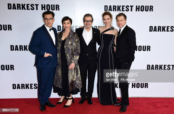 Director Joe Wright Kristin Scott Thomas Gary Oldman Lily James and Samuel West attending the Darkest Hour Premiere held at the Odeon Leicester...