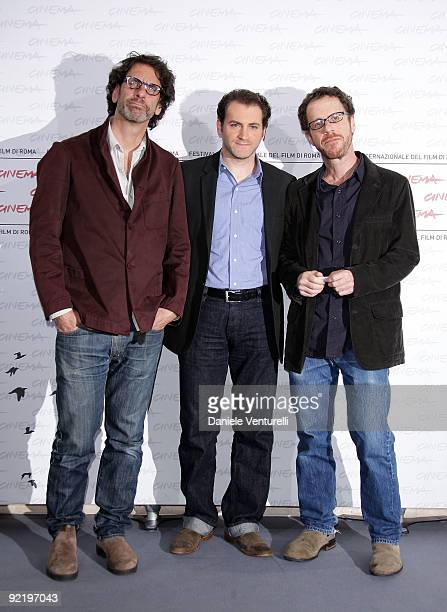 Director Joel Coen actor Michael Stuhlbarg and director Ethan Coen attend the A Serious Man Photocall during Day 8 of the 4th International Rome Film...