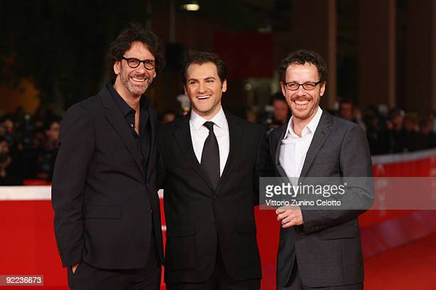 Director Joel Coen actor Michael Stuhlbarg and director Ethan Coen attend the A Serious Man Premiere during Day 8 of the 4th International Rome Film...