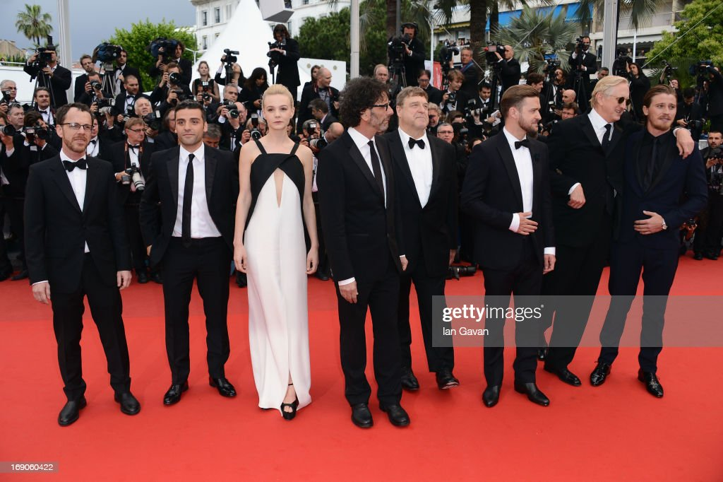 Director Joel Coen, actor Oscar Isaac, actress Carey Mulligan, director Ethan Coen, actor John Goodman, actor Justin Timberlake, musician T-Bone Burnett and actor Garrett Hedlund attend the 'Inside Llewyn Davis' Premiere during the 66th Annual Cannes Film Festival at Grand Theatre Lumiere on May 19, 2013 in Cannes, France.