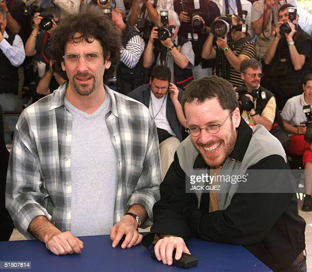 US director Joel Coen and his brother US director Ethan pose at the Palais des Festivals during the photocall of The man who wasn't there 13 May 2001...