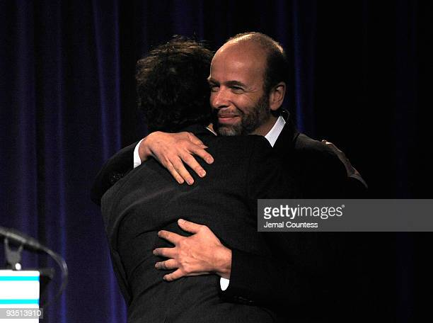 Director Joel Coen and Tim Bevan of Working Title speak onstage at IFP's 19th Annual Gotham Independent Film Awards at Cipriani Wall Street on...