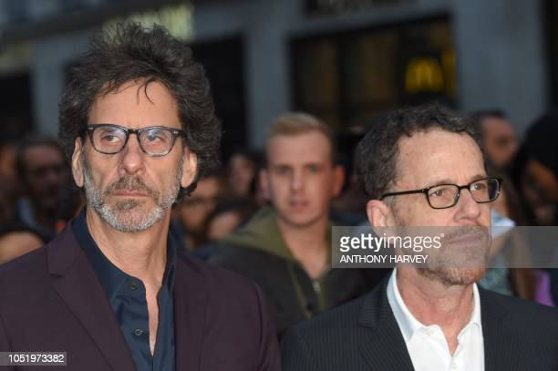 US director Joel Coen and US director Ethan Coen pose upon arrival for the UK premiere of the film 'The Ballad of Buster Scruggs' during the BFI...