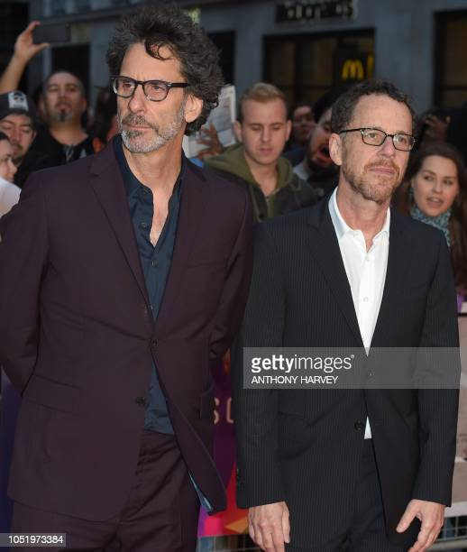 US director Joel Coen and US director Ethan Coen pose upon arrival for the UK premiere of the film 'The Ballard of Buster Scruggs' during the BFI...