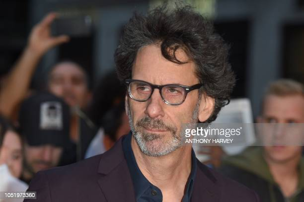 Director Joel Coen poses upon arrival for the UK premiere of the film 'The Ballad of Buster Scruggs' during the BFI London Film Festival in London on...