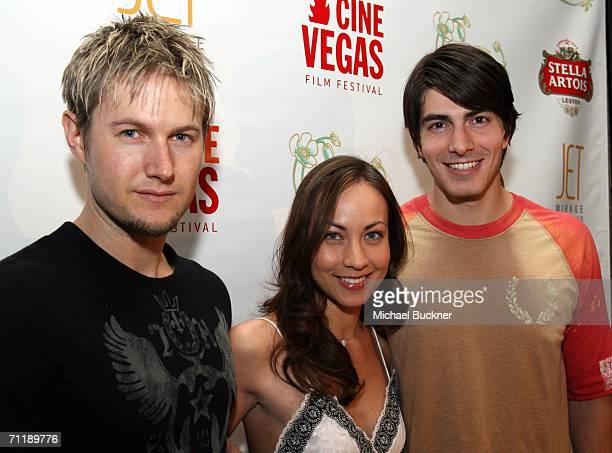 Director Joel Kelly Actress Courtney Ford and Actor Brandon Routh arrive at the evening party at the Jet Nightclub at the Mirage Hotel Casino during...