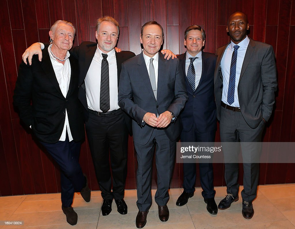 Director Joel Schumacher, producer David Fincher, actor Kevin Spacey, Chief Content Officer, Netflix, Inc. Ted Sarandos and actor Mahershala Ali attend Netflix's 'House Of Cards' New York Premiere After Party at Alice Tully Hall on January 30, 2013 in New York City.