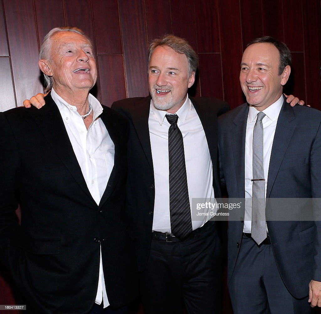Director Joel Schumacher, producer David Fincher and actor Kevin Spacey attend Netflix's 'House Of Cards' New York Premiere After Party at Alice Tully Hall on January 30, 2013 in New York City.