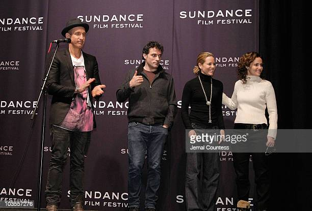 Director Johan Renck and actors Rufus Sewell Maria Bello and Amy Brenneman attends a screening of 'Downloading Nancy' at the Racquet Club during the...