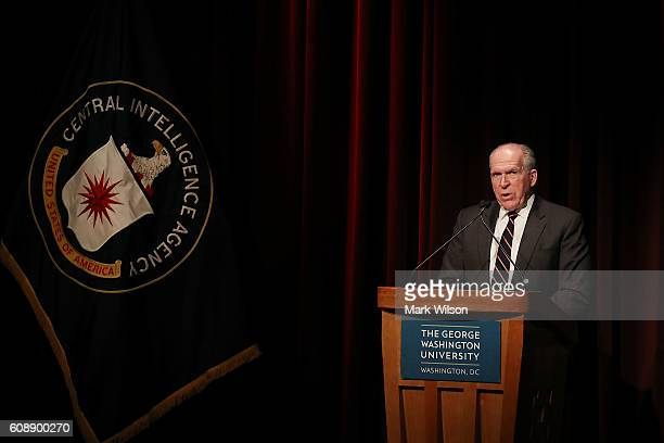 Director John Brennan speaks during the CIA's third conference on national security at Goerge Washington University September 20 2016 in Washington...