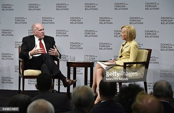 CIA Director John Brennan takes part in a discussion with Judy Woodruff coanchor and managing editor of PBS' Newshour on Instability and...