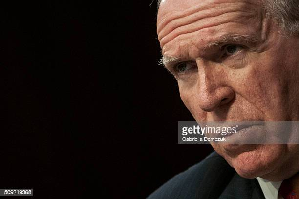 Director John Brennan testifies before the Senate Intelligence Committee at the Hart Senate Building on February 9 2016 in Washington DC The...