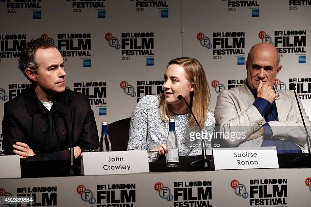 Director John Crowley actress Saoirse Ronan and novelist Colm Toibin attend a press conference for Brooklyn during the BFI London Film Festival at...