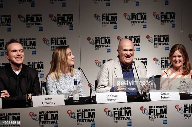 Director John Crowley actress Saoirse Ronan novelist Colm Toibin and producer Finola Dwyer attend a press conference for Brooklyn during the BFI...